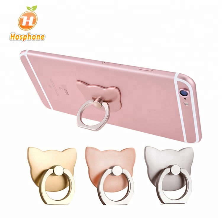 Mobile Phone Accessories Universal Rotated Cute Cat Ears Metal Mobile Phone Finger Ring Holder Grip Stand Good Quality Ample Supply And Prompt Delivery
