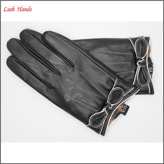women's leather Black driving gloves leather gloves with bow