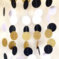 Black White Glitter Gold Mixed Color Circle Garland Paper Garland