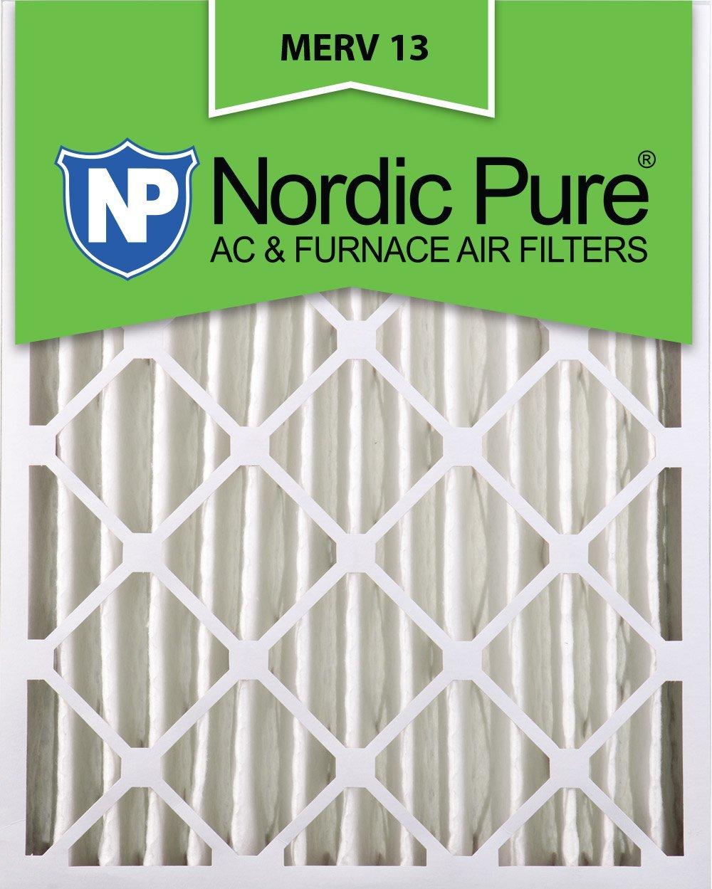 Nordic Pure 16x25x4M13-2 16x25x4 MERV 13 Pleated AC Furnace Air Filter, Box of 2, 4-Inch