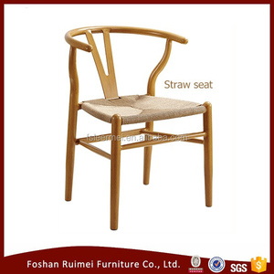 Wholesale hotel furniture stackable wood design arm straw seat dining chair