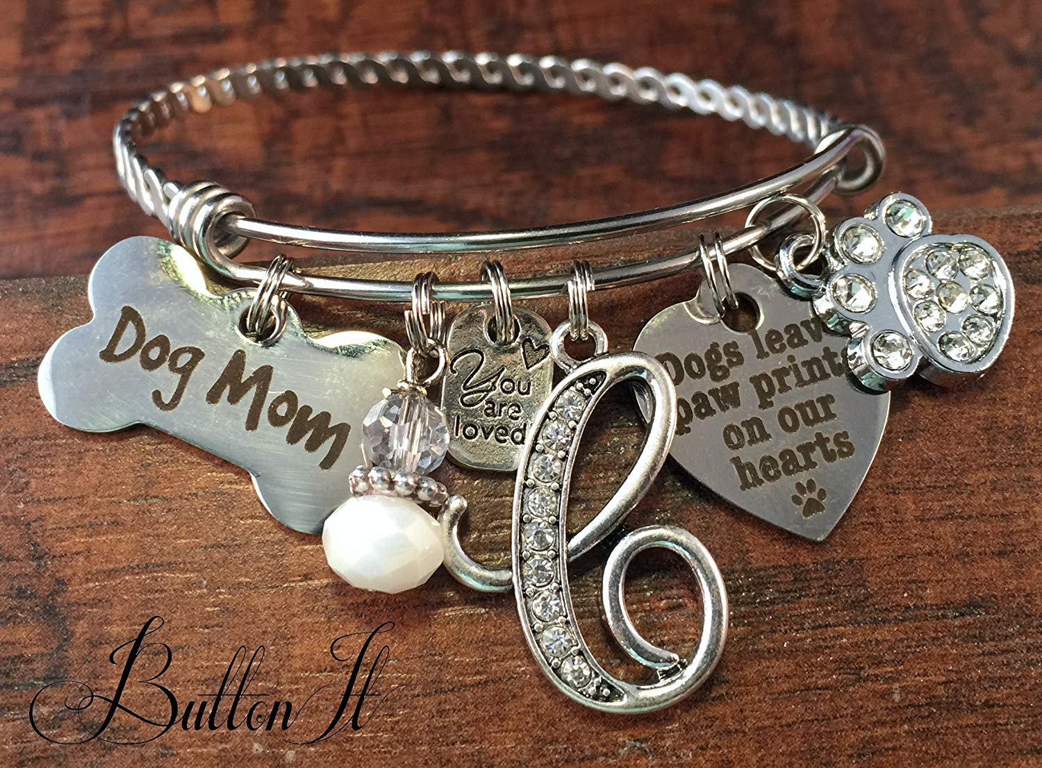 4cac92de2 Get Quotations · BANGLE bracelet, Pet loss gifts, Dog mom, Animal lover  jewelry, Pet memorial