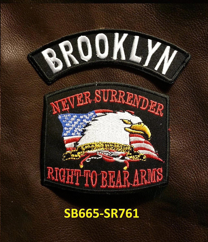 BROOKLYN and NEVER SURRENDER Small Badges Set for Biker Vest