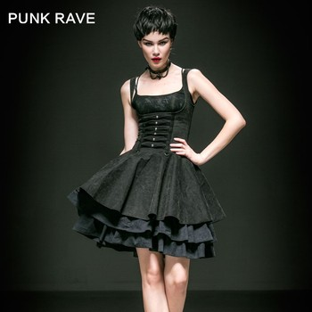 Q 239 Punk Rave Sexy Korean Simple Long Slinky Dresses With Skull