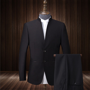 5f2ae9e25a Traje de boda para hombres novio negro Slim Fit chino cuello vestido de negocios  trajes de
