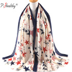 2018 viscose cotton star printed scarf fashion women shawls wrap luxury islamic hijabs