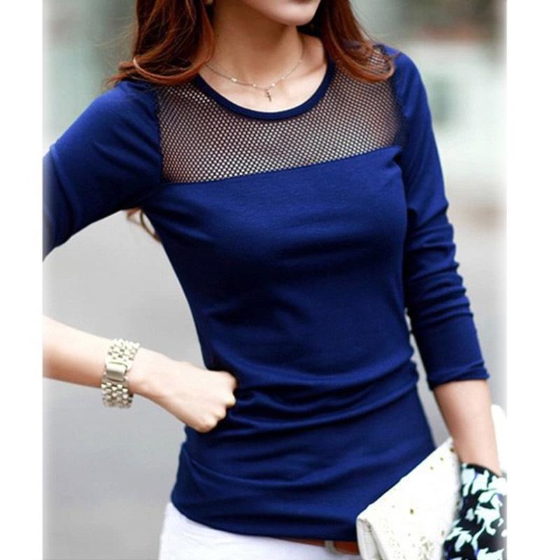 0238f05649d3 Black Blue White Tops Tees Shirts Women Cotton Shirt Lace Mesh ...