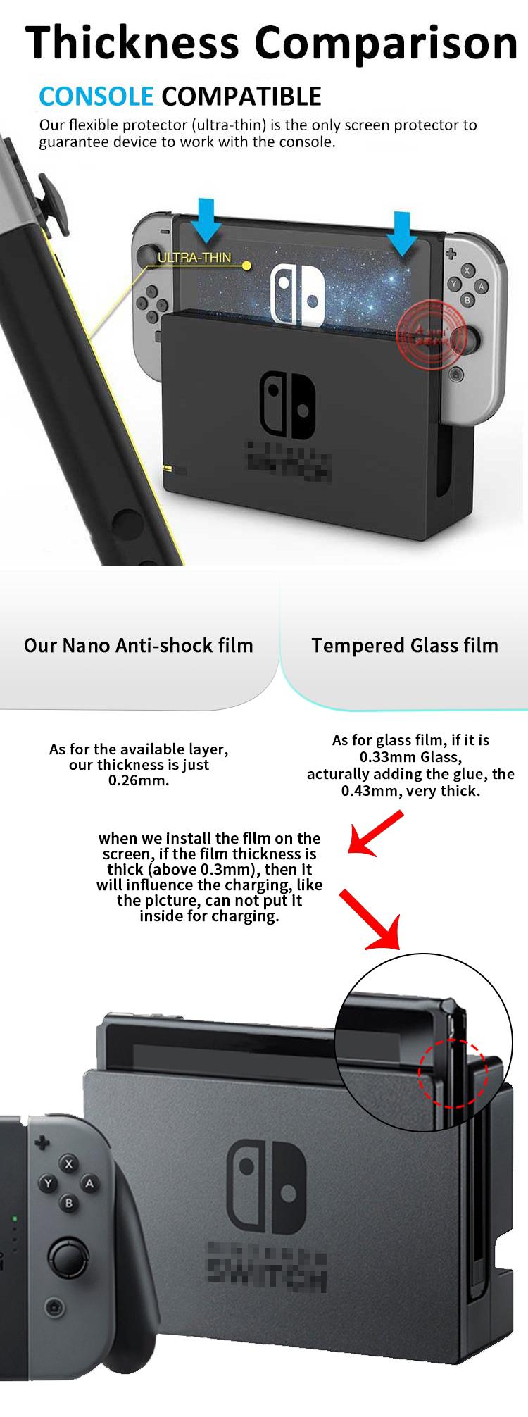 Amazon ผู้ผลิตทองทนทาน 9 H นาโนแก้วป้องกันการกระแทกหักป้องกันหน้าจอสำหรับ Nintendo สวิทช์ฟิล์มหน้าจอ