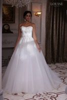 LBS-30 Sweet Beaded Applique Bodice Strapless Bridal Gown 2016 Low Back Long Ball Gown Maggie Wedding Dress Cathedral Train