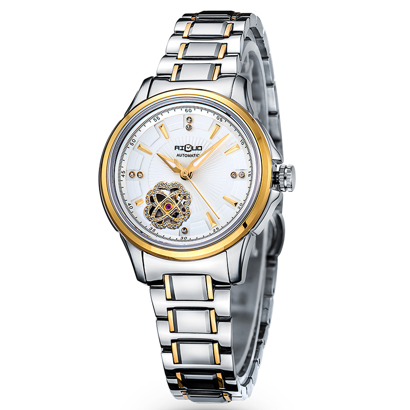 New Fashion Women Men Mechanical Stainless Steel Skeleton Luxury Lovers Wrist Watches