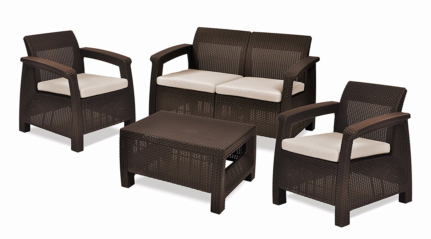 4-Piece All-Weather Resin Outdoor Patio Seating Furniture Set with Cushions, Brown Finish, Home Garden Set, Natural Rattan, Cushions, Loveseat, Armchairs, Bundle with Expert Guide for Better Life