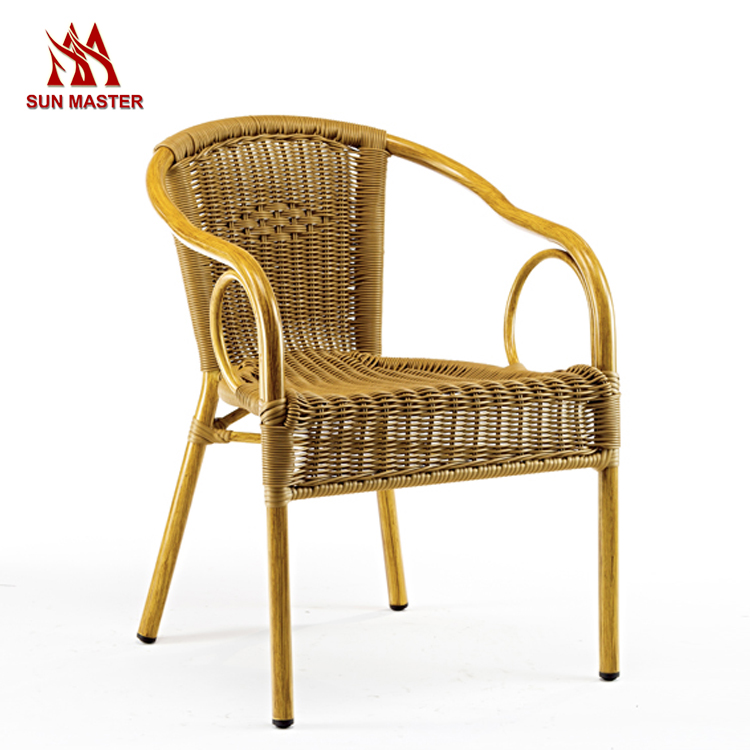 Elegant Design Durable Stable Outdoor Rattan Wicker Dining Chair With Arm
