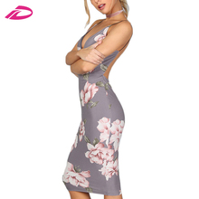 Women Grey Floral Sexy Backless Slip Summer Bodycon Dresses 2017 Fashion  Plunge Neck Elegant Midi Dress 1df591812b69