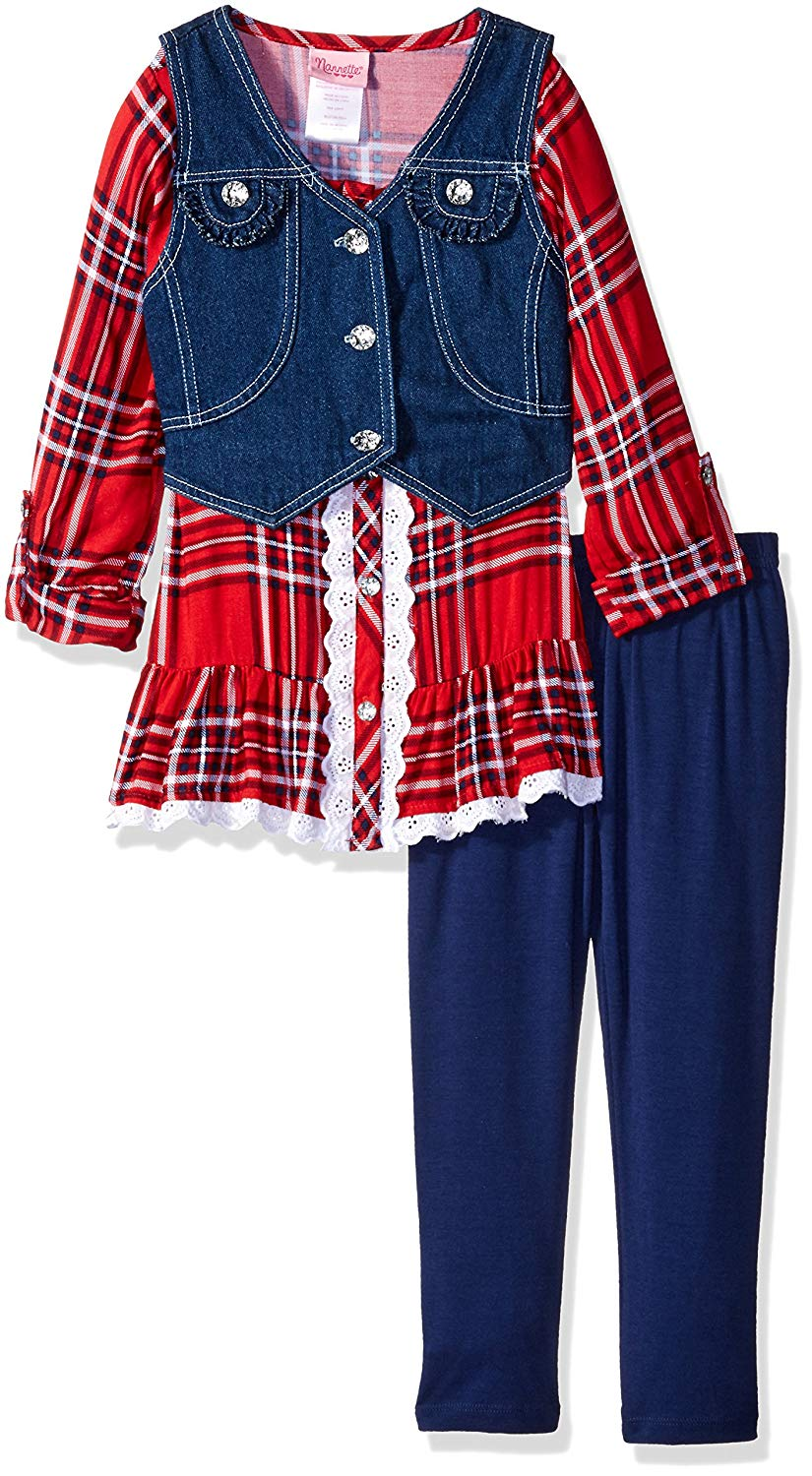 8c7e13157 Get Quotations · Nannette Girls' 3 Piece Legging Set with A Plaid Shirt and  Denim Vest