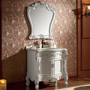 30 inch oak bathroom vanity in pearl-white with silver leaf, single sink No.1604