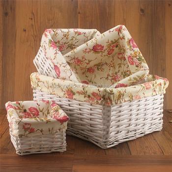 4 Piece Natural White Empty Wicker Storage Basket Set Wedding For Egg