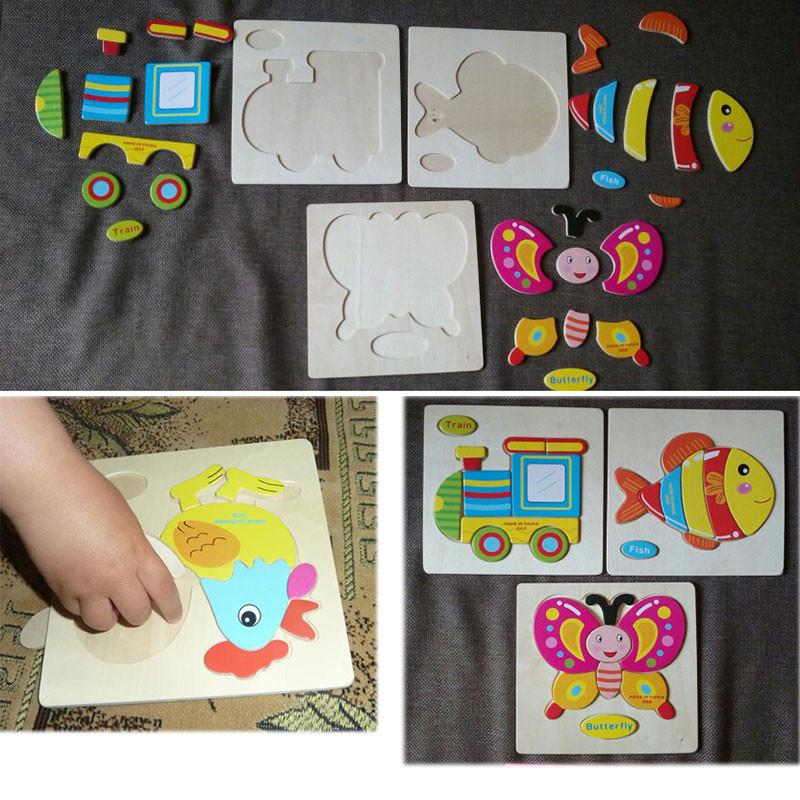 Kids Carton Puzzle Board Animalscarfruit Wooden Baby Educational