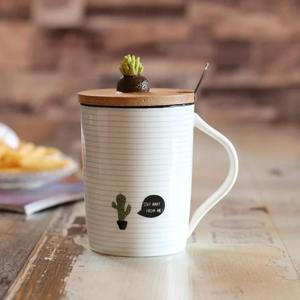 HT300002 Cactus ceramic cup cartoon plant mug with bamboo lid stainless steel spoon coffee mug breakfast cup