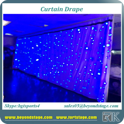 Wall curtian drapes for hotel/wedding/concert/church decorations with starlit drapes