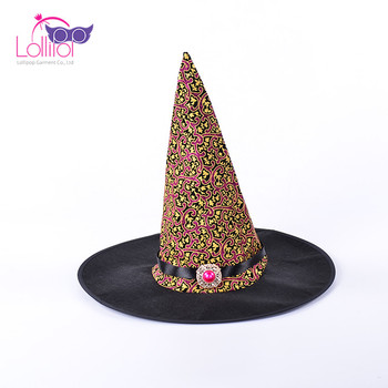 Halloween party prop supply adult wizard printing hats jewel decor wizard witch cap hat