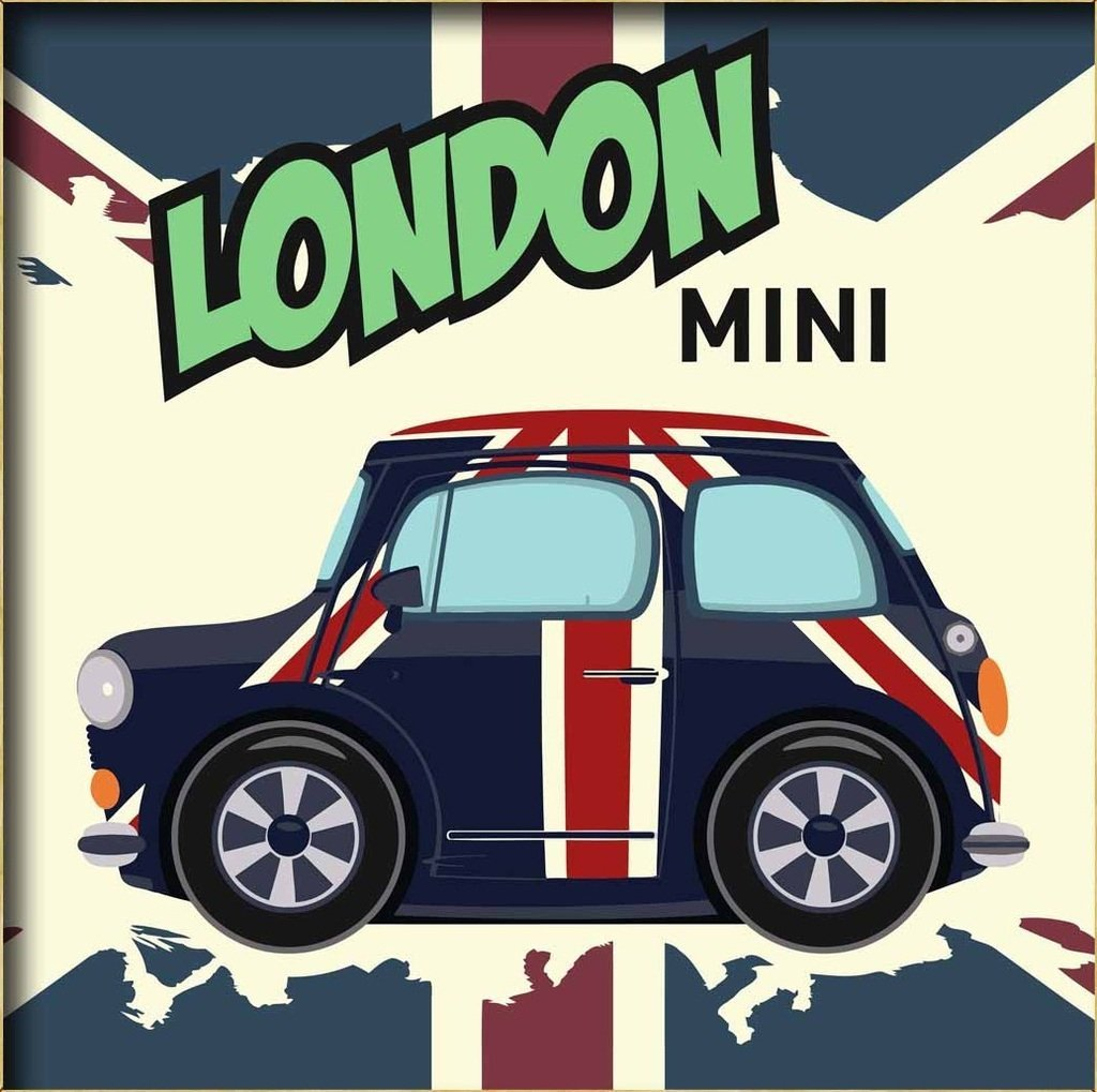 """Diy oil painting, paint by number kits for kids - London mini car 8""""X 8""""."""