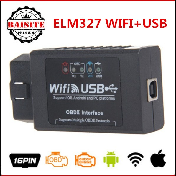 Perfect Function Universal OBD2 OBDII CAR Code Reader scanner elm327 wi fi usb obd2 elm 327 wifi usb For IOS / Android / Windows