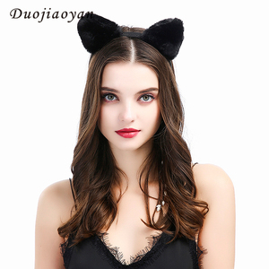 Hot Saling Custom Party Decorations Women Hair Accessories Hair Band Cute Plush Bear Animal Cat Ears Headband