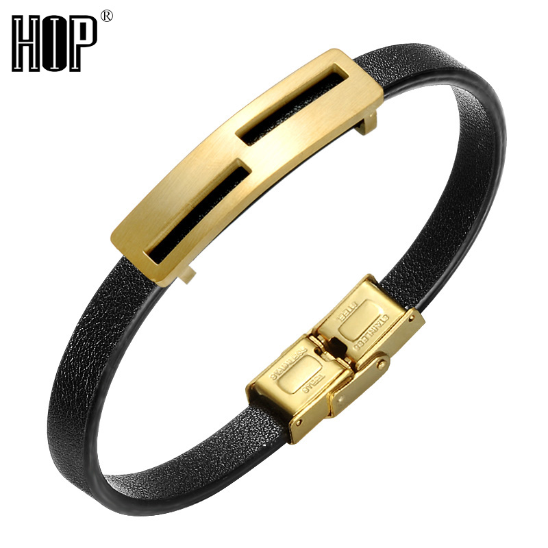 Fashion IP Gold Plated Mens Stainless Steel Leather Bracelet Bangle