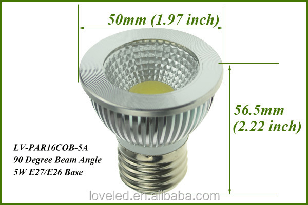 90 Degree Short Neck 50w Equal Par16 E27 Socket 5w E26 Led Bulb ...