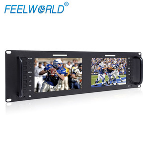 "FEELWORLD 7"" 3RU IPS 1280x800 Broadcast LCD Rack Mount dual monitor with 3G-SDI HDMI AV input and output"