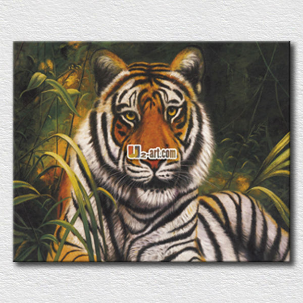Beautiful animal canvas art forest king tiger painting