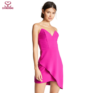 New modern ladies strapless sexy fashion party mini dress
