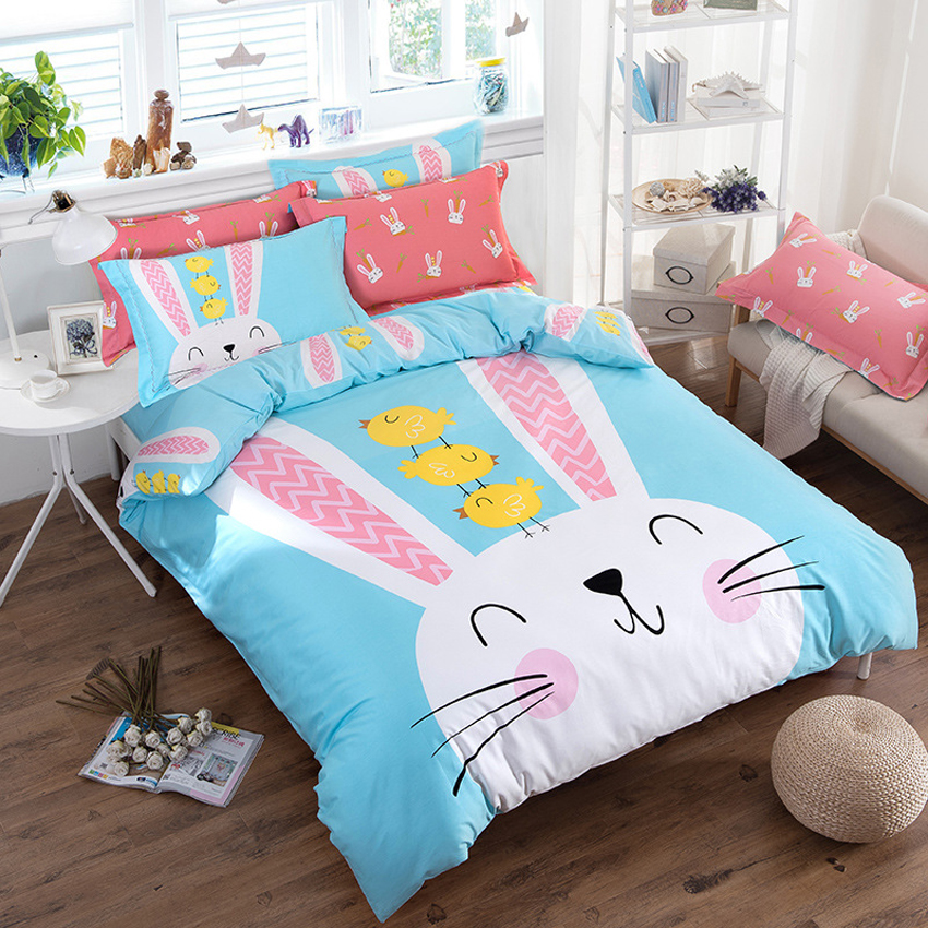 100% Cotton Bedding Set Luxury Soft Bedding Sets Cute Rabbits Pattern Bedclothes Queen King Size For Wedding Decoration 4pcs Set