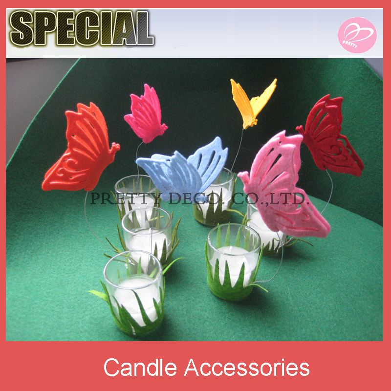 Garden style glass cup tealight candle holder with grass and butterfly