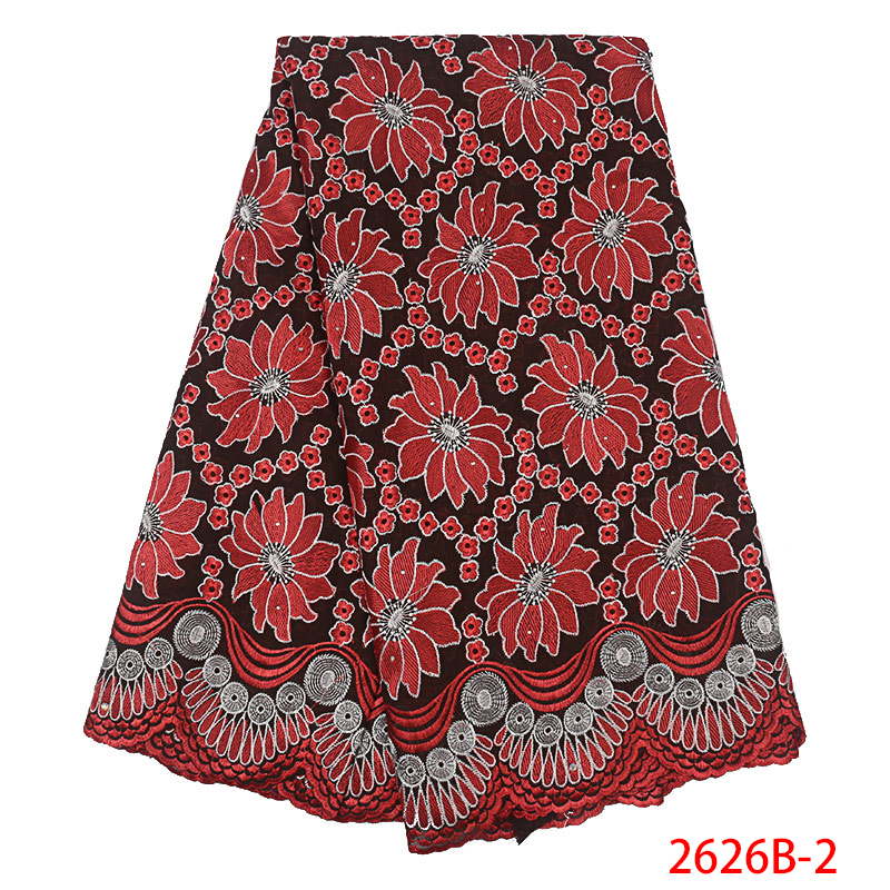 African Swiss Voile Lace in Switzerland Cotton Fabric Lace with Embroidery for Nigerian Women Dress XZ2626B