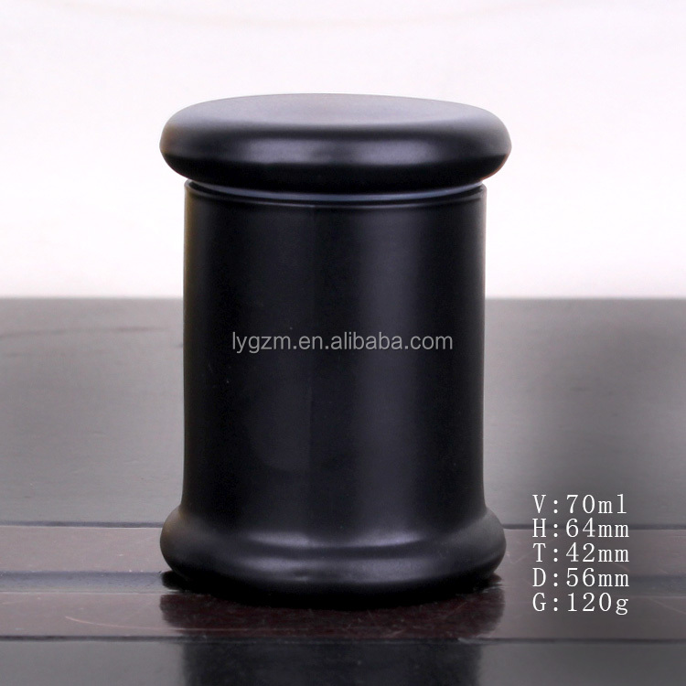 Customized glass candle holder jar sprayed black glass candle jar with lid