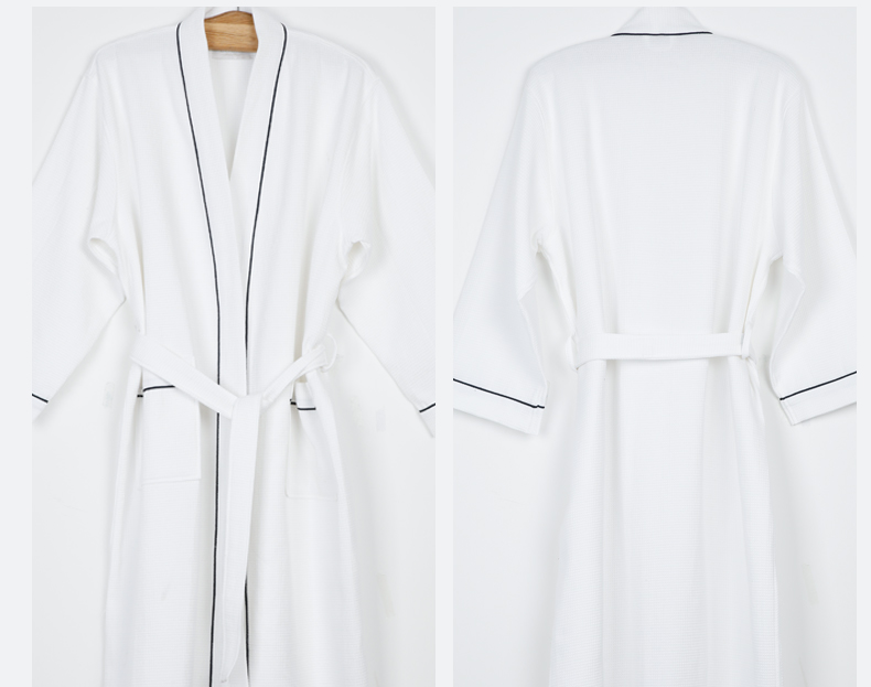 20e320d79a6fa Yalan Luxe 100% Coton Col Kimono Blanc Gaufre Hôtel SPA Peignoir de Bain  pour Femme