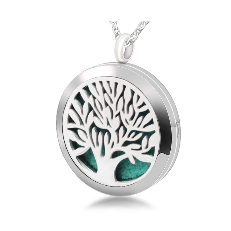 316l stainless steel tree of life essential oil diffuser necklace