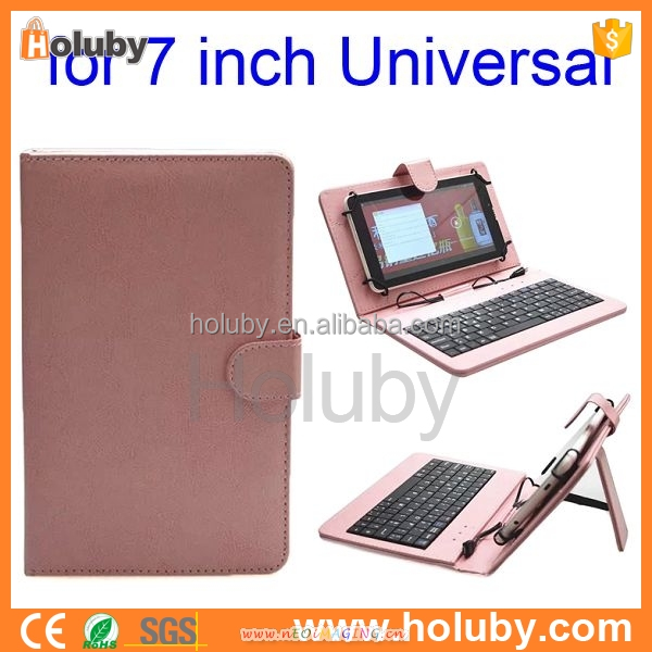 2015 Universial 7 Inch Tablet PC Crystal Texture PU Leather Keyboard Case with Holder & Micro USB Cable