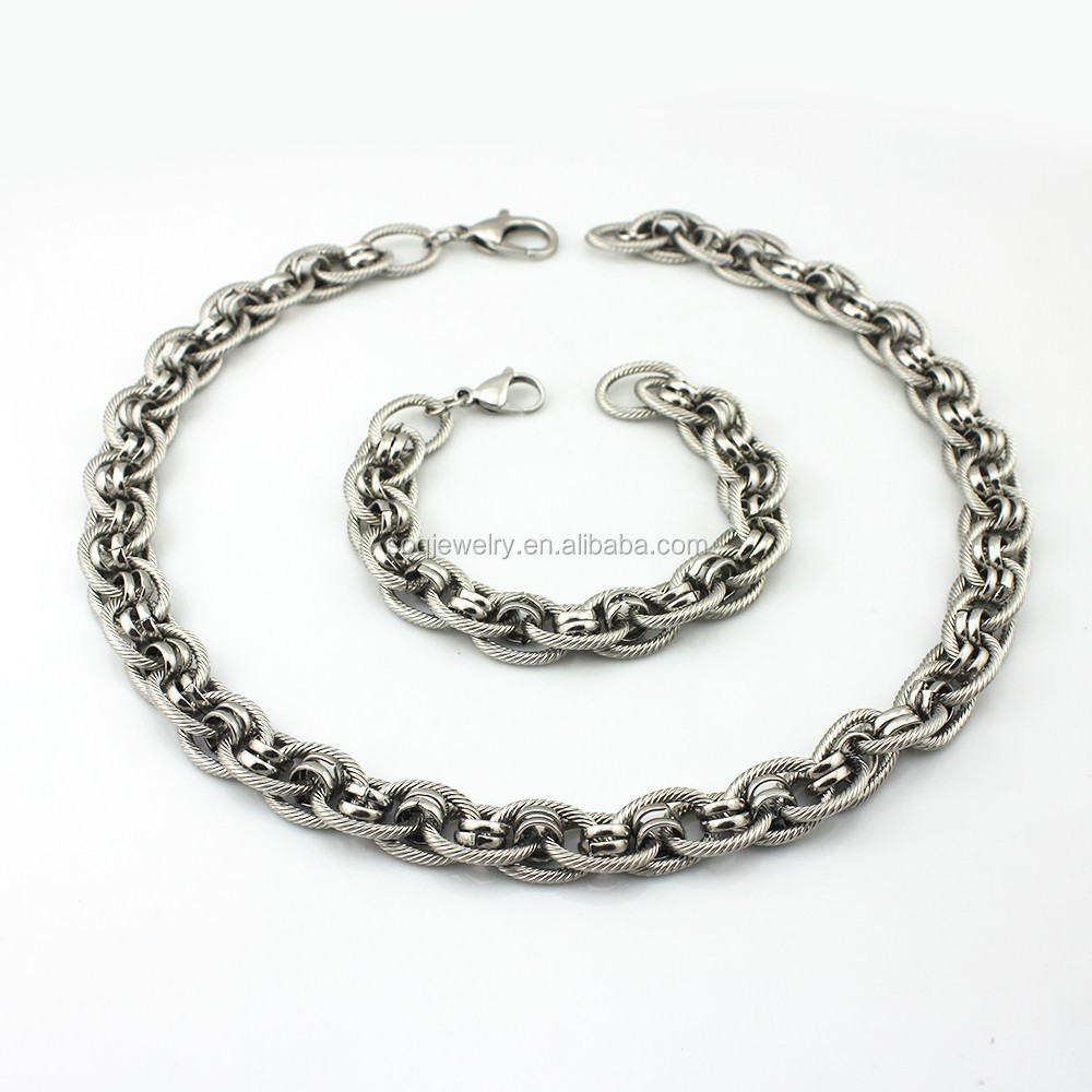 2015 Designs Unisex Jewelry Sets Silver Titanium Necklace Chain + Silver Twisted Figaro Arm Cuff Bracelet Bangles