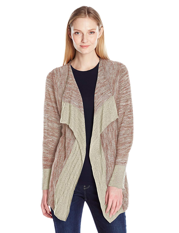 e2b4e672b6e Get Quotations · OneWorld Women s Long Sleeve Open Front Crochet Trim  Cardigan