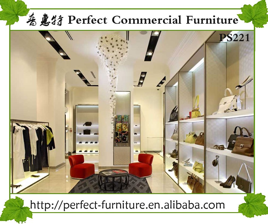 Fashion Furniture Corner Showcase Clothing Shop Interior Design For Menswear