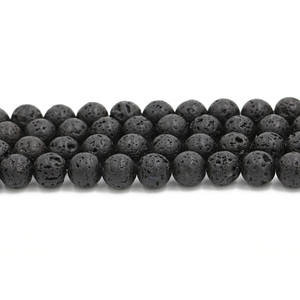 2019 Alibaba gold supplier wholesale 8mm natural stone loose gemstone black lava bead