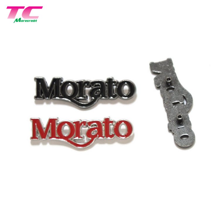 Wholesale Clothing Hardware Accessories Customized Embossed 3D Metal Letter Logo Plate Nameplate