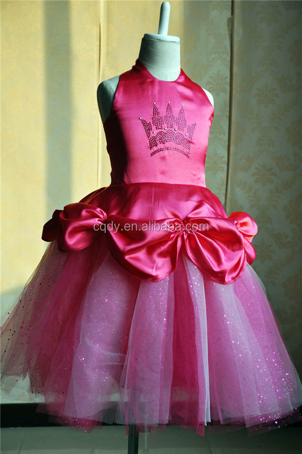 2015 Wholesale Hot Pink Princess Girl Party Dress Princess Flower ...