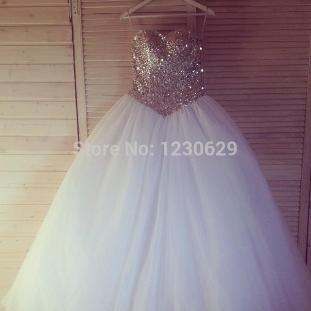 Glitter Trouwjurk.Jol312 Luxury Glitter Golden Lace Detailed Long Sleeves Wedding