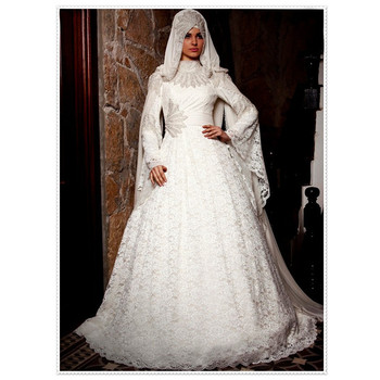 d0de2c9cc2 MUSL11 Modest Latest Design Beaded High Neck Long Sleeve Lace Bridal hijab  Formal Dubai Muslim Wedding