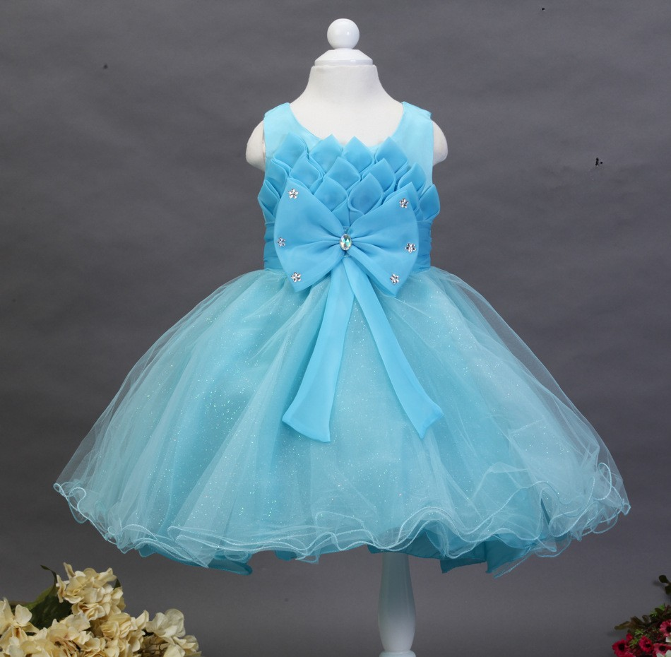 New Design Lotus Kids Wedding Dresses Beautiful Crystal Bow Kids ...