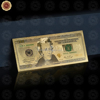 Wr 24K Gold Foil USA Banknote Novelty Paper Art Crafts Colored $20 Dollar Money Bill for Value Collection