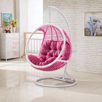 Round Wicker Hanging Chair In Room With Ottoman - Buy Hanging Chair ...